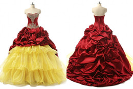 $enCountryForm.capitalKeyWord NZ - Amazing Burgundy Yellow Ball Gown Quinceanera Prom Dresses With Gold Beads Sequin Satin Ruffles Long Cheap Sweet 16 Dress Vestidos 15 Anos