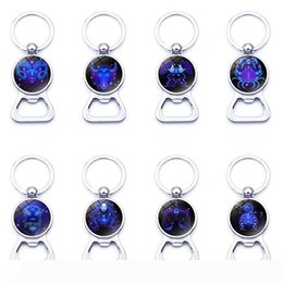 keychain bottle opener wholesale Australia - Creative Time Gem Cabochon Keychain 12 Constellations Bottle Opener Key Ring Portable Key Chain Opener New Arrivel