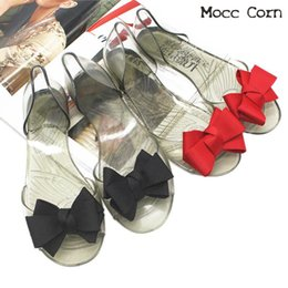 Discount bow fish shoes - 2019 Summer Flat Sandals Women Bow Jelly Fish Mouth Beach Casual Sandals Slip On Slippers Flat Shoes Fashion lady Clear