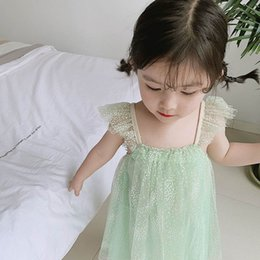 $enCountryForm.capitalKeyWord NZ - 2019 new Summer Bling Bling girls dresses lace sweet girl dress kids Princess Dresses braces Party Dresses kids designer clothes A4691