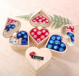 wholesale rose shaped soap UK - Heart Shape Wooden Box Rose Flower Colorful Bouquet Hand Made Rose Flower Soaps With Mirror Box For Valentine Day Gift GGA3062