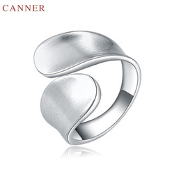 $enCountryForm.capitalKeyWord Australia - CANNER Elegant Wedding Band Rings for Women Silver Color Open Ring Female Simple Plain Finger Ring Fashion Jewelry Gifts C40