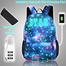 $enCountryForm.capitalKeyWord Australia - Special Purpose Bags Bags Luminous Student School Bag School Backpack for Boy Girl with USB Charging Port Anti-theft Lock Pen Bag