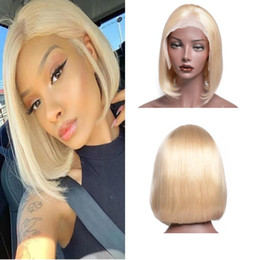 14 inch wigs straight Australia - 150% Density Blonde 613 BOB Straight Wave Lace Frontal Wigs Pre Plucked Hairline 8 10 12 14 inch Brazilian Virgin Bob Human Hair Wigs