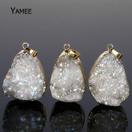 $enCountryForm.capitalKeyWord Australia - 5PCS Mix Colors Quartz Fashion Opal Irregular Crystal Druzy Natural Stone Making Necklaces & Pendants Gold Plating DIY Jewelry