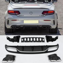 $enCountryForm.capitalKeyWord Australia - C63-S Style ABS Bumper Diffuser Lip Spoiler add tail pipe Fit For BENZ W205 C180 C200 C220 C300 Sport