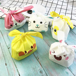 rabbit biscuits UK - 10pcs lot Cute Rabbit Ear Cookie Bags Gift Bags For Candy Biscuits Snack Baking Package Wedding Favors Gifts Easter decoration