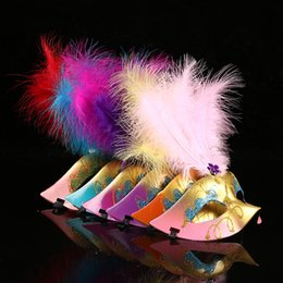 $enCountryForm.capitalKeyWord Australia - Halloween Mask Venetian Masks Masquerade Masks Half Face feather Christmas Masks Party Performance mask 6 COLOR KKA7093