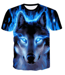 cool animal t shirts UK - 2019 The latest wolf 3D print animal cool funny street hip hop short sleeve summer shirt T-shirt male fashion