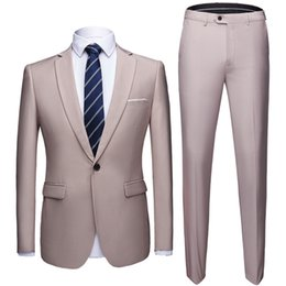 Skinny Fitted Suits NZ - 2019 Grey Suits Men Formal Skinny Gentle Prom Blazer Marriage Tuxedo 2 Piece Jacket+Pants Terno wedding mens suit slim fit