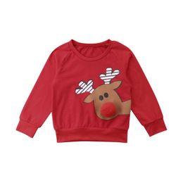 $enCountryForm.capitalKeyWord Australia - 2019 Brand New Xmas Infant Baby Girl Sweatshirt Tops Cartoon Santa Deer Pullover Red Tops Warm Ball Nose Sweatshirt Outfit 6M-4Y