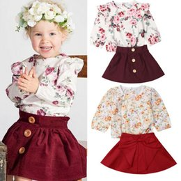 $enCountryForm.capitalKeyWord Australia - Focusnorm New Fashion Kids Toddler Infant Baby Girls Clothes Set Long Sleeve Floral T-shirt Tops+Skirt Dress Outfit Clothes