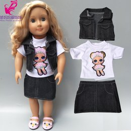 $enCountryForm.capitalKeyWord Australia - 18 inch american doll jacket vest shirt skirt baby dolls clothes summer jeans dress
