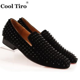 mens smoking slippers Australia - COOL TIRO Studded Stuts Black Spikes Loafers Men Smoking Slipper Casual Shoes Suede Mens Dress Shoes Flats Genuine Leather blue