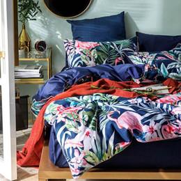 $enCountryForm.capitalKeyWord Australia - 2019 Blue Flamingo Leaves Duvet Cover Set Luxury Egyptian Cotton Fabric Bedlinens Queen Size Bedding Set Bedsheet Bedspread