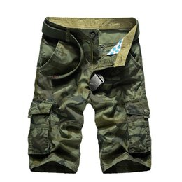 mens military cargo camouflage pants 2020 - New Summer Camouflage Cargo Shorts Men Loose Mens Military Trousers Size 29 -44 Casual Man Short Pants No Belt Designer