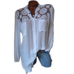 $enCountryForm.capitalKeyWord UK - Elegant Women Tops Casual Loose Long Sleeve Plus Size Lace Patchwork Blouse Shirt Autumn Loose V-neck Pockets Blusas Feminina Y190518