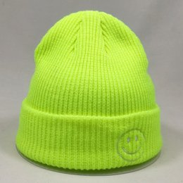 neon beanies wholesale Canada - Fashion Plain Hats & Caps Hats, Scarves & Gloves Short Knitted Winter Hat for Women Smile Face Mens Beanie Neon Yellow Neon Green Purple Hot