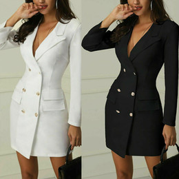 Wholesale double breasted trench dress resale online - Fashion Women Lapel Slim Double Breasted Long Sleeve Trench Coat Long Jacket Overcoat Formal Work Dress
