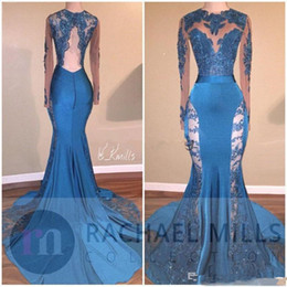 Jade Dresses Australia - Unique Hunter Jade Lace Prom Dresses 2019 Keyhole Neck Mermaid Long Sleeves See Through Formal Evening Gowns Backless Party Dress
