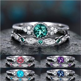 Discount china jewelry wholesale white gold - Birthday Stone Cubic Zircon Ring Diamond Crystal Ring Set Couple Engagement Wedding Rings Women Fashion Jewelry