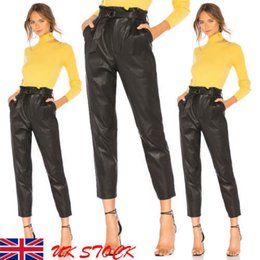 Leather Leg Australia - Us Women Lady Leather High Waist Jegging Stretch Pant With Pockets Belt Trouser drop shipping good quality