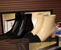 $enCountryForm.capitalKeyWord Australia - free ship! u633 34 40 genuine leather cap toe heel short boots beige black vogue fashion choices women
