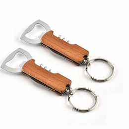 bottle keychain corkscrew Australia - Openers Wooden Handle Bottle Opener Keychain Knife Pulltap Double Hinged Corkscrew Stainless Steel Key Ring Openers Bar LX7787