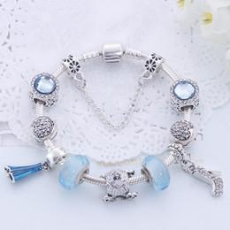 925 shoe pendants online shopping - 2020 Charm Beads Bracelet Silver Pandoa style Bracelets love flower crystal shoes pendant snake chain Bangle Diy Jewelry