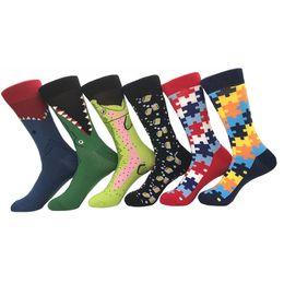 Happy Baseball Australia - Cheap Wholesale Men Socks 100% Cotton Alligator Animals Pattern Design Socks Funny Happy Dress Sport Socks 20 Pairs Lot