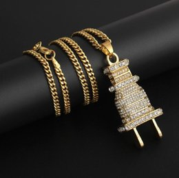Plug Plate Australia - 24K gold plated Iced Out Bling Men's Plug Pendant Necklace Plated Charm Micro Pave Full Rhinestone Cuban Chain Hip Hop Jewelry DHL