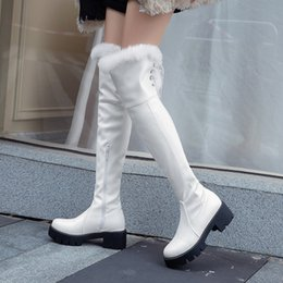 brown thick heels open toe 2021 - Winter new snow boots fashion thick mid-heel hair knight boots slim version of high