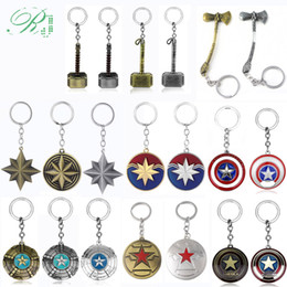 $enCountryForm.capitalKeyWord UK - RJ 10pcs Avengers Captain America Carol Danvers Shield Logo Keychains Superhero Ms. Marvel Thor Axe Pendant Car Keyring Jewelry