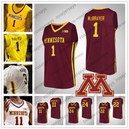 red basketball jerseys NZ - NCAA Minnesota Golden Gophers #1 Dupree McBrayer 11 Isaiah Washington 22 Gabe Kalscheur 24 Eric Curry 2019 Basketball Red Yelow White Jersey