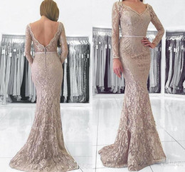Navy Full Sleeve Prom Dress Australia - Long Sleeve Mermaid Evening Occasion Wear Dresses 2019 Full Lace V-neck Backless Trumpet Plus Size Prom Party Dress