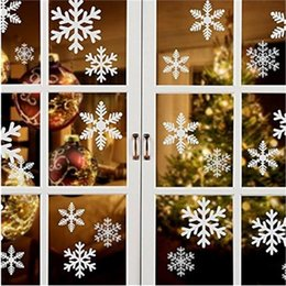 Christmas Window Stickers For Shops Australia - 27pcs set Christmas Snowflake Window Sticker Winter Glass Door Wall Decal Xmas New Year Decor Stickers for Shopping Mall Window