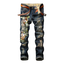 Torn jeans fashion online shopping - Fashion Ripped Embroidered Jeans Hole Motorcycle Trousers Blue Slim Fit Denim Pants Torn Stylish Youth Streetwear for Men