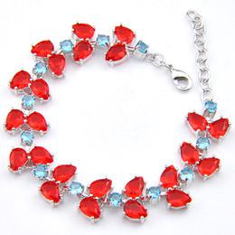 $enCountryForm.capitalKeyWord NZ - Luckyshine 6 Pcs Holiday Gift Jewelry Shiny Crystal Fire Sparkling Red Quartz Gem Silver Plated Wedding Chain Bracelets Bangles