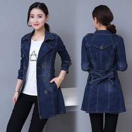 $enCountryForm.capitalKeyWord NZ - #3308 2019 Long Denim Jacket Women Double Breasted Jeans Coat Ladies Casual Slim Plus Size 3xl 4xl Windbreaker Woman With BeltMX190820