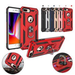 Cas de téléphone portable support de bague magnétique de voiture Standable arrière dur cas PC Armor pour iPhone 8 X XS MAX Samsung S10 S10e Plus