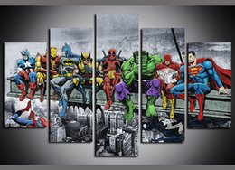 Wholesale 5 Panels Cartoon Anime Super Hero Giclee Canvas Wall Art for Kid Home Wall Decor Abstract Poster Canvas Print Oil Painting