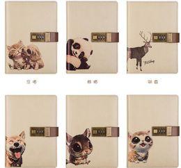Journal Cute Animal Patterns PU Leder Abdeckung mit Passwortsperre Notebook Kreatives Briefpapier Business Travel Journal