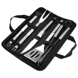 bbq grill tool set Australia - Portable Outdoor Travel Home BBQ Grill Tools Case Set Stainless Steel Barbecue Grill Accessories With Cloth Storage Picnic Bag