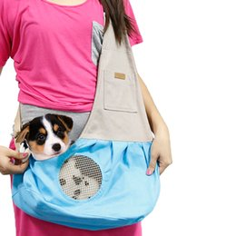Bags Carry Puppies Australia - Hand-free Breathable Canvas Dog Carriers Portable Small Dogs Puppy cat Slings Outdoor Travel Shoulder Chest Pet Carrying Bags