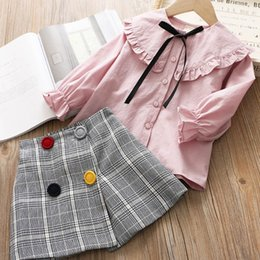 6881a03b Wholesale Little Girl Shirts NZ - 2019 Fashion Girls Outfits long sleeve  shirt+shirts 2pcs