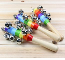 $enCountryForm.capitalKeyWord NZ - Baby Rainbow Toy kid Pram Crib Handle Wooden Activity Bell Stick Shaker Rattle 100 p l