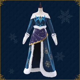 Hot Game Lol Cosplay Costume Soraka Superhero Full Set Blue Sexy Dress With Gloves Halloween Party For Adult Woman Costumes & Accessories