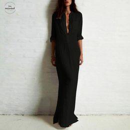 Robes 5xl online shopping - Maxi Dress Women Shirt Dress Size Xl Xl Xl Elegant Robe Ladies Long Sleeve Large Size Dresses Female Gown Oversize