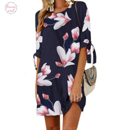 floral dresses half sleeve NZ - Floral Female Printed Mini Dress Plus Size Designer Straight Casual Sundress Boho Women Summer Half Sleeve O-Neck Boho Gv591 Clothes