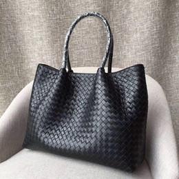 Plain Carrier Bags Australia - Women's classic hot tote bag. Designer handbag, leather hand-woven design. Removable liner carrier. Casual style. Travel shopping essen